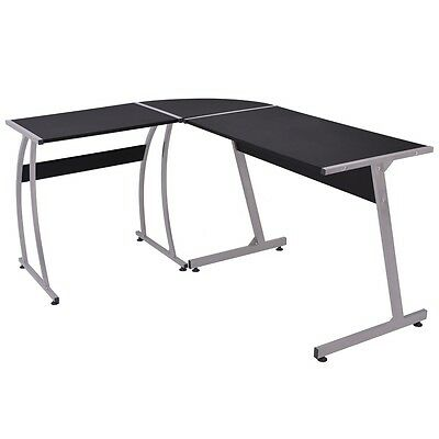 vidaXL Corner Desk Writing Table WorkStation Computer Home Office L-Shaped Black