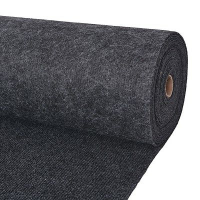 vidaXL Exhibition Carpet Rug Rib 2x20 m Anthracite Commercial Wedding Party