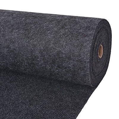 vidaXL Exhibition Carpet Rug Rib 2x10 m Anthracite Commercial Wedding Party