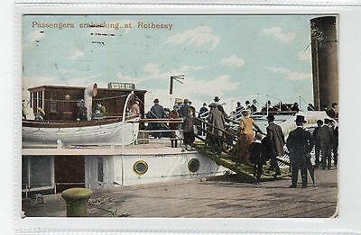 PASSENGERS EMBARKING AT ROTHESAY: Isle of Bute postcard (C28084)