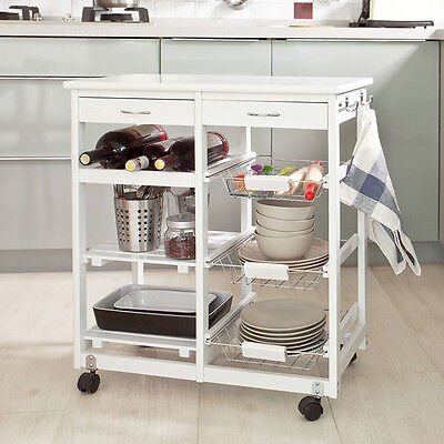 SoBuy® Kitchen Cart, Kitchen Trolley with Shelves & Drawers, FKW04-W, White,UK