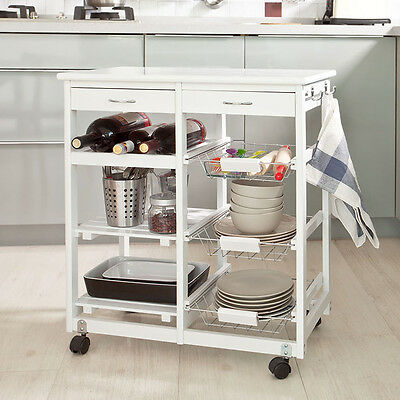SoBuy® Kitchen Trolley Cart,Storage Rack with Shelves & Drawers,FKW04-W,White,UK