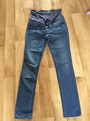 H&m Mama Slim Skinny High Rib Maternity Jeans Over Bump Eu42/uk14-16 Light Blue