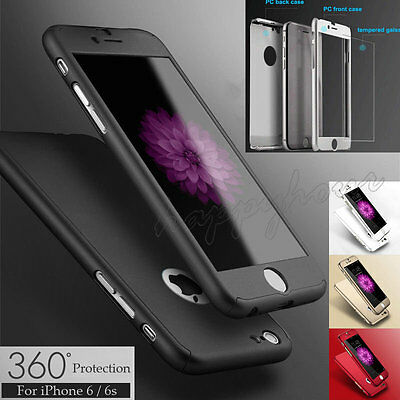 Hybrid 360° Hard Ultra thin Case+Tempered Glass Cover For Apple iPhone 6/6s 5/5s