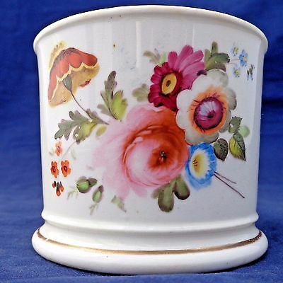 Antique Porcelain Mug Painted Flowers Possibly Coalport Bone China early 19th C