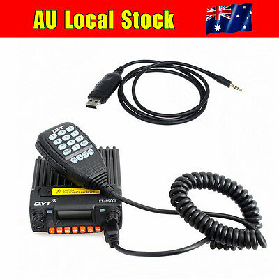 QYT 400-480MHz VHF/UHF 25W 200CH FM Car Mobile Transceiver+USB Programming Cable
