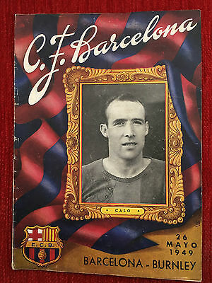 Programme Official Barcelona Spain Burnley England Friendly 1949 Very Rare