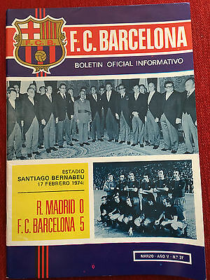Official Bulletin Barcelona Arsenal 1974 Friendly