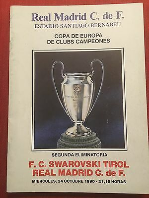 Programme Official Real Madrid Swarovski Tirol Austria European Cup 1990 1991
