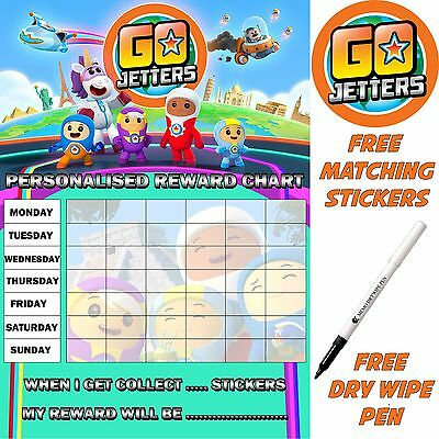 Reusable Potty Training reward Chart Go Jetters Free Stickers & pen MAGNETIC