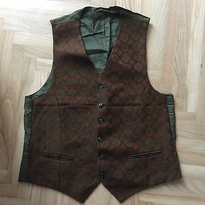 Retro Olive Green Waistcoat 75 Wool 25 RAyon 36 Inch Chest Very Old