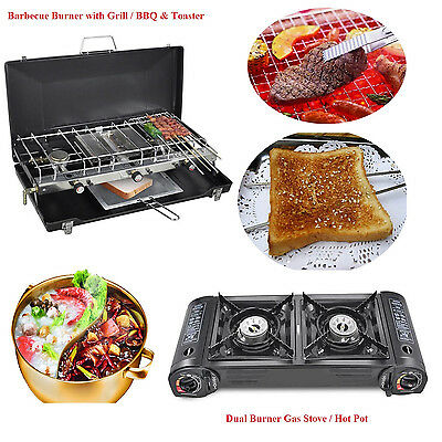 Portable Dual Burner Gas Stove Camping Trip Hot Pot/Barbecue Burner with Grill