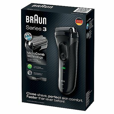 Braun Series 3 ProSkin 3000s Electric Rechargeable Shaver/Electric Razor - Black