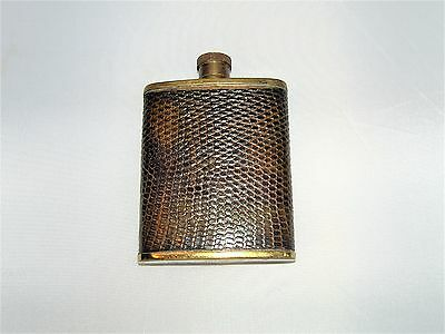 Brass Hip Flask By P.h.v & Co Leather Snake Skin Look Facet Made In England