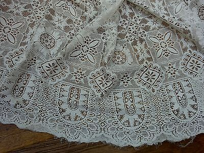 Antique Very Large Panel Net Curtain Cloth Nottingham Lace Original Victorian