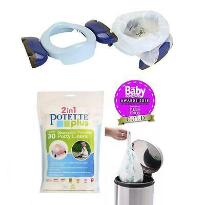 Potette Plus Travel Potty & Toilet Trainer Seat Carry Bag BLUE + 30 Pack Liner