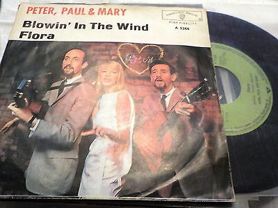 "7""  *60's* PETER,PAUL & MARY - Blowin' In The Wind *green label Germany"