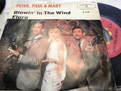 "7""  *60's* PETER,PAUL & MARY - Blowin' In The Wind *red  label near mint"