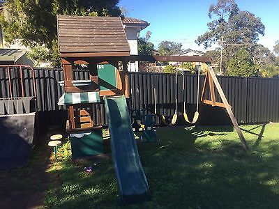 Swing Set With Cubby House And Slide, Slippery Dip