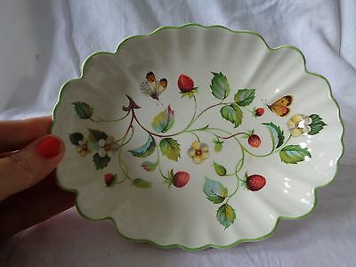 Very Pretty Vintage Old Foley Strawberry Oval Dish Flowers Butterflies