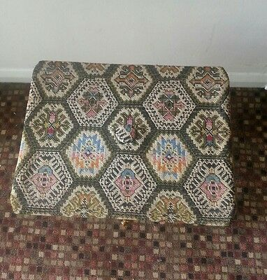 Vintage Retro Sewing Box Stool Lidded Tapestry Design