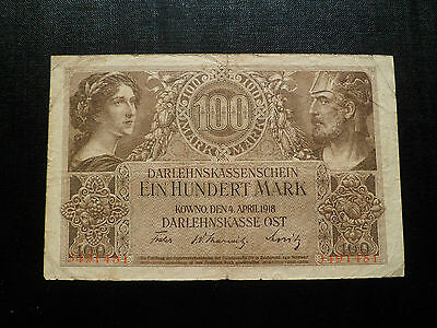 GERMANY  Occupation of Lithuania WWI 1918  100 mark