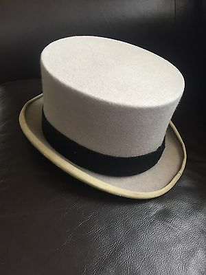 Grey Original Top Hat With Black Band Great Condition 100% Wool Vintage