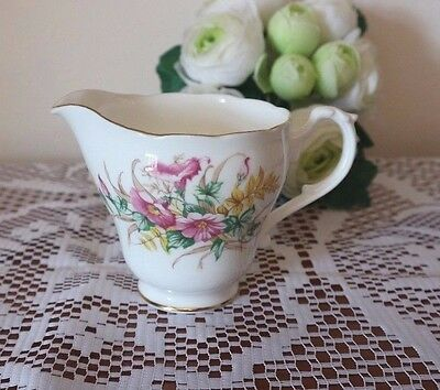 ADDERLEY CHINA Pink Floral Green Yellow Leaves VINTAGE CREAM JUG Tea Set