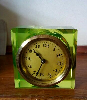 a1930s rare art deco green glass paperweight mantel clock