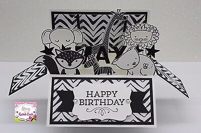 Handmade card, card in a box, black & white animals birthday card, PERSONALISED