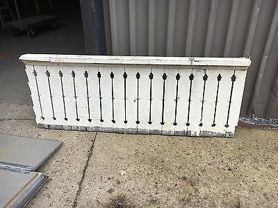 "21.5' c1900 flat sawn porch railing balustrade FANCY flower motif cutout 28"" H"