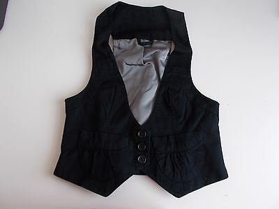 Women's Black V Neck Waistcoat Vest by New Look Size 8/10