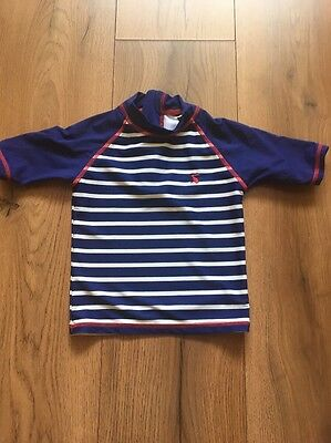 Joules Baby Swim Vest Rash Vest Age 12-18 Months Blue Stripe UV Sun Top