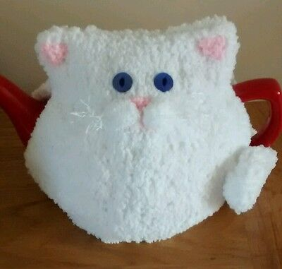 Hand-knitted Willow the white cat/kitten tea cosy