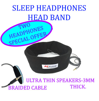 Sleep Phones Headband Sleep Headphones-Ultra Thin Speakers and Braided Cable X 2