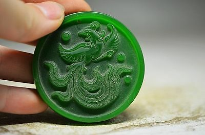 Delicate Chinese green jade hand carved phoenix pendant sq8