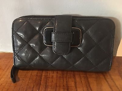Jaeger Ladies Black Leather Quilted effect Purse with Zip