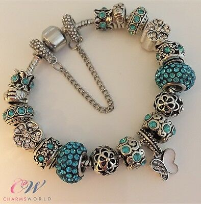 Silver Plated Charm Bracelet Turquoise & Silver Crystal Charms/ Muranos - Gift