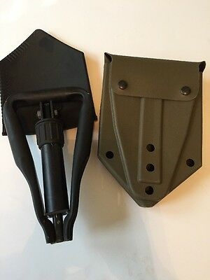 Military Issued Tri-Fold Ames E-Tool Black Metal Shovel with Carrier New