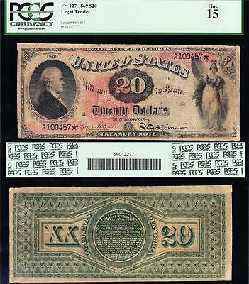 """Awesome *ULTRA RARE* 1869 $20 """"RAINBOW"""" Legal Tender Note! PCGS 15! FREE SHIP!"""