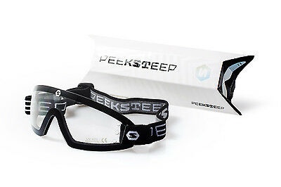 Peeksteep skydiving motorcycle goggles (clear/black strap)
