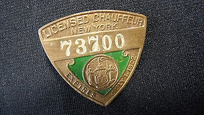 Vintage New York Licensed Chauffeur Pin 1922 Intact