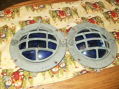 two marine brass port hole or deck light cover  solid brass 7 in blue glass