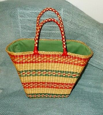 Vintage 60s/70s Mexican Small Straw Basket Purse-Tote-Red & Green Stripes-Lined