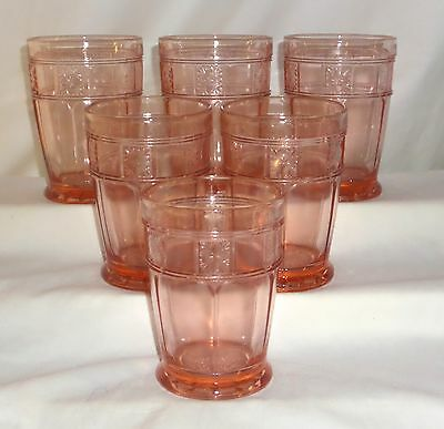 "6 Jeannette DORIC PINK *4""- 10 oz FOOTED WATER TUMBLERS*"