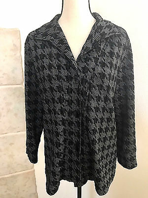 Women's Button Down Sweater size L - Made in Heaven Houndstooth Black Gray Lined