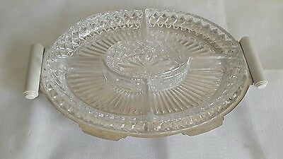 A Vintage Silver Plated Tray with Cut Glass Inserts