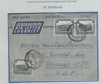 South Africa , 1954  Air Letter To Usa A