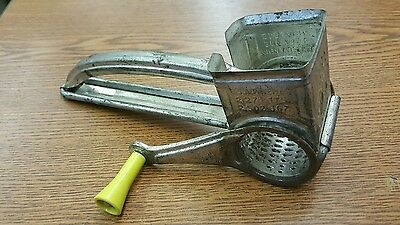 Vintage Yellow Handle Mouli Grater Hand Crank Cheese Shredder France