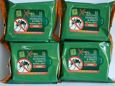 ** 4 X Xpel Mosquito & Insect Repellent Wipes New **  Travel 25 Wipes Long Lasti